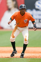 Isaac Galloway #27 of the Greensboro Grasshoppers takes his lead off of first base versus the Kannapolis Intimidators at NewBridge Bank Park June 20, 2009 in Greensboro, North Carolina. (Photo by Brian Westerholt / Four Seam Images)