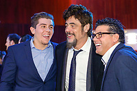 "NEW YORK - NOVEMBER 14:  Benicio Del Toro is flanked by guests during a party following the premiere of Showtime's limited series ""Escape at Dannemora"" at Alice Tully Hall in Lincoln Center on November 14, 2018 in New York City. (Photo by Kena Betancur/Showtime/PictureGroup)"