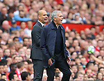 Josep Guardiola manager of Manchester City and Jose Mourinho manager of Manchester United shout during the games during the Premier League match at Old Trafford Stadium, Manchester. Picture date: September 10th, 2016. Pic Simon Bellis/Sportimage