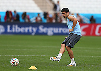 Luis Suarez of Uruguay trains in the Arena Corinthians, Sao Paulo ahead of his sides Group D crunch fixture vs England tomorrow
