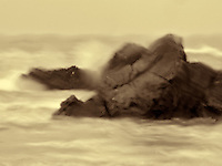 Rainy day image of rocks and waves at Harris Beach State Park, Oregon