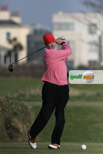 Jerry Williams (Castle) on the 4th tee at the Hilary Golf Society at Portmarnock Hotel and Golf Links, Co.Dublin...(Photo Jenny Matthews/www.golffile.ie)