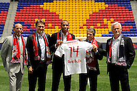 Major League Soccer Commissioner Don Garber, Head of Red Bull Global Soccer Dietmar Beiersdorfer, Thierry Henry, sporting director/GM Erik Soler, and head coach Hans Backe during a New York Red Bulls press conference at Red Bull Arena in Harrison, NJ, on July 15, 2010.