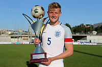 England win the Tournoi Maurice Revello Trophy and Captain, Joe Worrall proudly holds the Cup during England Under-18 vs Ivory Coast Under-20, Toulon Tournament Final Football at Stade de Lattre-de-Tassigny on 10th June 2017