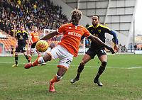 Blackpool's Armand Gnanduillet under pressure from Oxford United's Jordan Graham<br /> <br /> Photographer Kevin Barnes/CameraSport<br /> <br /> The EFL Sky Bet League One - Blackpool v Oxford United - Saturday 23rd February 2019 - Bloomfield Road - Blackpool<br /> <br /> World Copyright © 2019 CameraSport. All rights reserved. 43 Linden Ave. Countesthorpe. Leicester. England. LE8 5PG - Tel: +44 (0) 116 277 4147 - admin@camerasport.com - www.camerasport.com