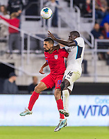 WASHINGTON, DC - OCTOBER 11: Sebastian Lletget #17 of the United States goes up for a header with Dario Ramos #16 of Cuba during a game between Cuba and USMNT at Audi Field on October 11, 2019 in Washington, DC.