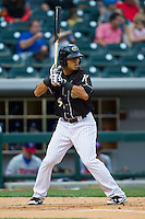 Gorkys Hernandez (9) of the Charlotte Knights at bat against the Buffalo Bisons at BB&T Ballpark on May 9, 2014 in Charlotte, North Carolina.  The Knights defeated the Bisons 5-3.  (Brian Westerholt/Four Seam Images)