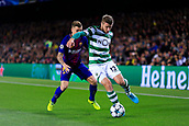 5th December 2017, Camp Nou, Barcelona, Spain; UEFA Champions League football, FC Barcelona versus Sporting Lisbon; Lucas Digne of FC Barcelona fight the ball with Stefan Rivstoski of Sporting Lisbon