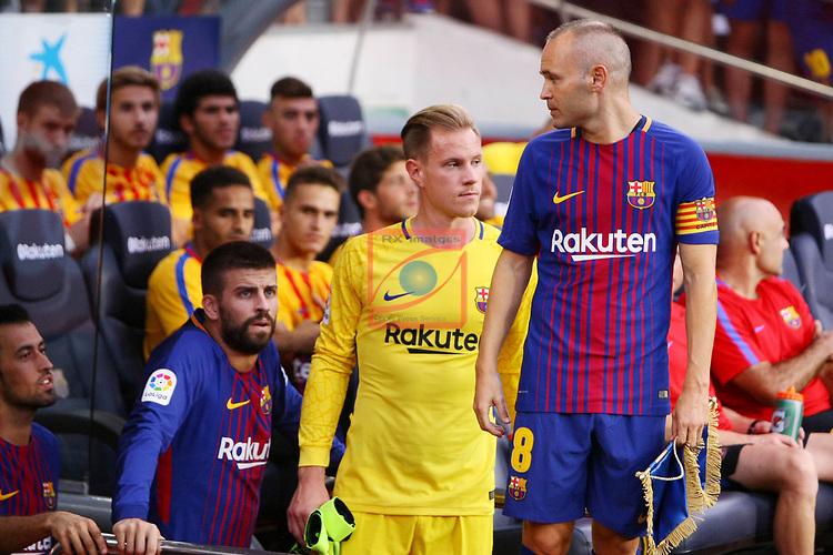 52e Trofeu Joan Gamper.<br /> FC Barcelona vs Chapecoense: 5-0.<br /> Andres Iniesta, Marc Andre ter Stegen &amp; Gerard Pique.