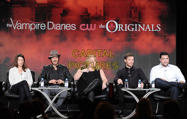 PASADENA, CA - JANUARY 11: (L-R) Executive Producer Caroline Dries, Ian Somerhalder, Executive Producer Julie Plec, Joseph Morgan, and Executive Producer Michael Narducci attend The Vampire Diaries and The Originals presentation at the CW 2015 Winter Television Critics Association (TCA) press tour at The Langham Huntington Hotel and Spa on January 11, 2015 in Pasadena, California. <br /> CAP/MPI/PGFM<br /> &copy;PGFM/MPI/Capital Pictures