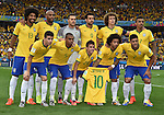 Brazil team group line-up (BRA),<br /> JULY 8, 2014 - Football / Soccer :<br /> Brazil players pose for a team photo with a shirt of their teammate Neymar before the FIFA World Cup Brazil 2014 Semi-finals match between Brazil 1-7 Germany at Estadio Mineirao in Belo Horizonte, Brazil. (Photo by SONG Seak-In/AFLO)