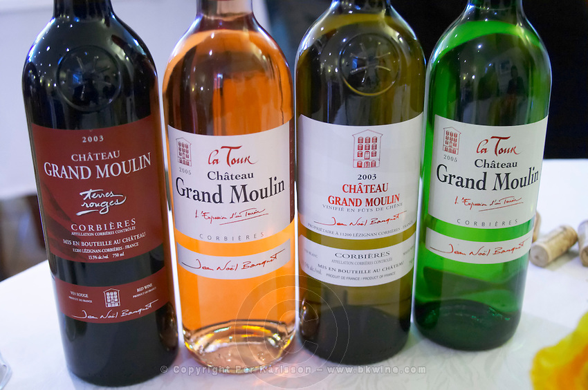 The range of wines Chateau Grand Moulin Terres Rouges red, La Tour rose, White and La tour white. Chateau Grand Moulin. In Lezignan-Corbieres. Les Corbieres. Languedoc. France. Europe. Bottle.