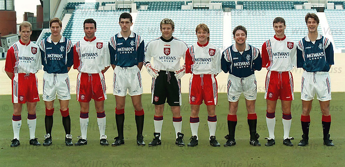 Rangers in Adidas kit launch try to keep a straight Face Mr McCoist