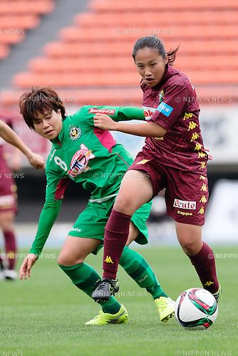 (L to R) <br /> Yumi Uetsuji (Beleza), <br /> Saki Ueno (Jef Ladies), <br /> OCTOBER 31, 2015 - Football / Soccer : <br /> Plenus Nadeshiko League 2015 <br /> between NTV Beleza 2-0 Jef Chiba Ladies <br /> at Komazawa Olympic Park Stadium, Tokyo, Japan. <br /> (Photo by AFLO SPORT)