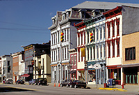 Street scene, restored 19th-century buildings in the Main Street business district of Madison, Indiana. Madison Indiana.