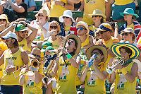 March 4, 2016: The fanatics cheer squad supporting Bernard Tomic of Australia against Jack Sock of USA during match two of the BNP Paribas Davis Cup World Group first round tie between Australia and USA at Kooyong tennis club in Melbourne, Australia. Photo Sydney Low