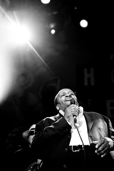 Howard Tate performs at the 8th annual Ponderosa Stomp, held at the House of Blues in New Orleans on April 28, 2009. <br /> <br /> Howard Tate is a soul singer from Georgia, most famous for a series of hits on Verve Records in the late 1960s.  While his albums were critically acclaimed throughout the 70s (as well as having one song covered by Janis Joplin) his music sold relatively poorly and he retired from the music industry late in the same decade.  After falling in and out of drug abuse in the 1980s Tate worked as a preacher in the 1990s began a musical comeback in 2001.  <br /> <br /> The Ponderosa Stomp is an annual music festival held in New Orleans since 2002 that celebrates the uncelebrated names in American musical history.  The festival spotlights musicians who have contributed to the American roots musical canon in various genres, from rockabilly to soul to rock and roll to jazz to experimental.  For two nights of the year these mostly forgotten names perform to an audience of aficionados whose memory has not faded and turn back the clock with blistering performances of the hits that did or (in the case of the regional musicians that plugged away unknown to the world at large, as well as those whose songs were recorded to acclaim by other musicians) did not make them famous.  <br /> <br /> In addition to the two nights of performances the Ponderosa Stomp Foundation (the non-profit founded by the eccentric Dr. Ira Padnos and his coterie of like minded music fanatics the Mystic Knights of the Mau Mau) also produces two days of the Music History Conference, where many of the performers, as well as other music industry names, share stories of their lives in the business.  The Conferences take place in the Louisiana State Museum at the Cabildo in Jackson Square.