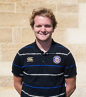 Academy Analyst Jamie Eustace poses for a portrait at a Bath Rugby photocall. Bath Rugby Media Day on September 8, 2015 at Farleigh House in Bath, England. Photo by: Rogan Thomson for Onside Images