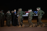 Members of the Official Party, from left, Sergeant Major of the United States Marine Corps Ronald Green, US Marine Corps General Robert B. Neller, Commandant of the Marine Corps, and acting US Secretary of Defense Patrick M. Shanahan, pay their respects as a US Marine Corps carry team participates in the Dignified Transfer of the transfer case containing the remains of United States Marine Corps Staff Sergeant Christopher A. Slutman at Dover Air Force Base in Dover, Delaware on April 11, 2019.  He died as the result of a road-side bomb in Afghanistan on April 8, 2019.  Staff Sergeant Slutman, a decorated 15 year veteran of the Fire Department of New York (FDNY), was married and had three children. Photo Credit: Ron Sachs/CNP/AdMedia