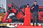 """Ryan Reynolds, May 29, 2018, Tokyo, Japan : Actor Ryan Reynolds(R) and actress Shioli Kutsuna attend the Japan premiere for """"Deadpool 2"""" at the Roppongi Hills in Tokyo, Japan on May 29, 2018."""