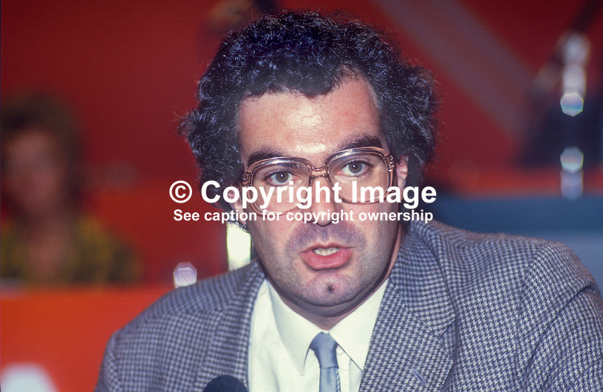Andrew Ellis, prominent member, LIberal Party, UK, speaking, annual conference, September 1986, 19860922AE2<br /> <br /> Copyright Image from Victor Patterson, 54 Dorchester Park, Belfast, UK, BT9 6RJ<br /> <br /> t1: +44 28 9066 1296 (from Rep of Ireland 048 9066 1296)<br /> t2: +44 28 9002 2446 (from Rep of Ireland 048 9002 2446)<br /> m: +44 7802 353836<br /> <br /> victorpatterson@me.com<br /> www.victorpatterson.com<br /> <br /> Please see my Terms and Conditions of Use at victorpatterson.com . It is IMPORTANT that you familiarise yourself with them.<br /> <br /> Images used on the Internet incur an additional cost and must be visibly watermarked i.e. &copy;Victor Patterson within the body of the image and copyright metadata must not be deleted. Images used on the Internet have a size restriction of 4kbs and are chargeable at rates available at victorpatterson.com.<br /> <br /> This image is only available for the use of the download recipient i.e. television station, newspaper, magazine, book publisher, etc, and must not be passed on to any third party. It is also downloaded on condition that each and every usage is notified within 7 days to victorpatterson@me.com<br /> <br /> The right of Victor Patterson to be identified as the author is asserted in accordance with The Copyright Designs And Patents Act (1988). All moral rights are asserted.