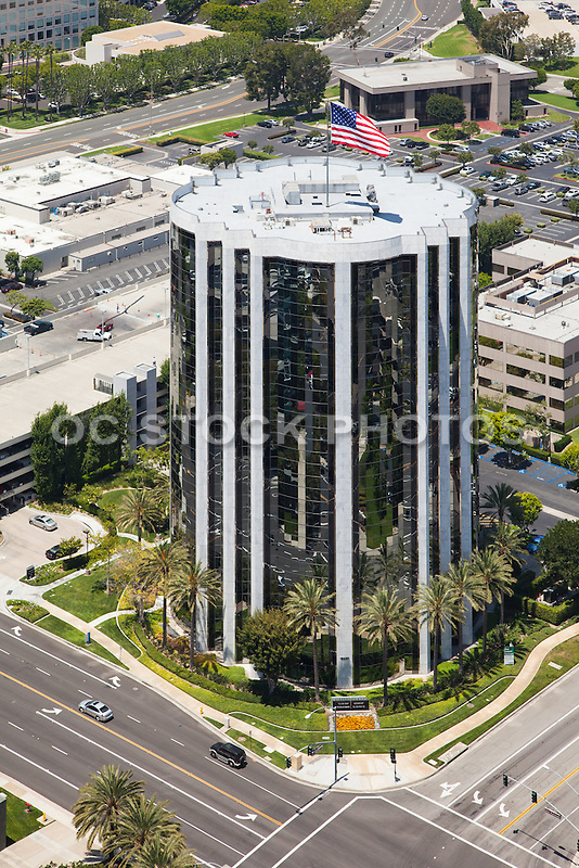 Aerial Photo over Waterfield Tower on Von Karmen Ave. Irvine California