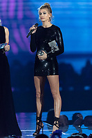 Hailey Baldwin presents an award during the show of the 2017 MTV Europe Music Awards, EMAs, at SSE Arena, Wembley, in London, Great Britain, on 12 November 2017. Photo: Hubert Boesl <br />