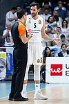 Real Madrid Rudy Fernandez talking with referee during Turkish Airlines Euroleague match between Real Madrid and Herbalife Gran Canaria at WiZink Center in Madrid, 20 November 2018. (ALTERPHOTOS/Borja B.Hojas)