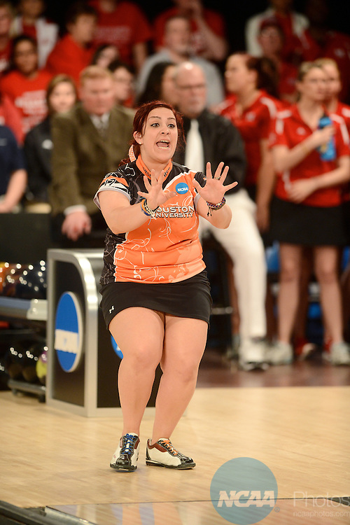 12 APR 2014:  Neishka Cardona from Sam Houston State University reacts to her attempt during the Division I Women's Bowling Championship held at Game of Wickliffe in Wickliffe, OH.  Sam Houston State University defeated Nebraska 4-2 for the national title.  Eric Mull/NCAA Photos