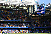 The scoreboard shows the final score of Chelsea 1 Tottenham 0 played in front of a crowd in the region of 25,000 during Chelsea Women vs Tottenham Hotspur Women, Barclays FA Women's Super League Football at Stamford Bridge on 8th September 2019