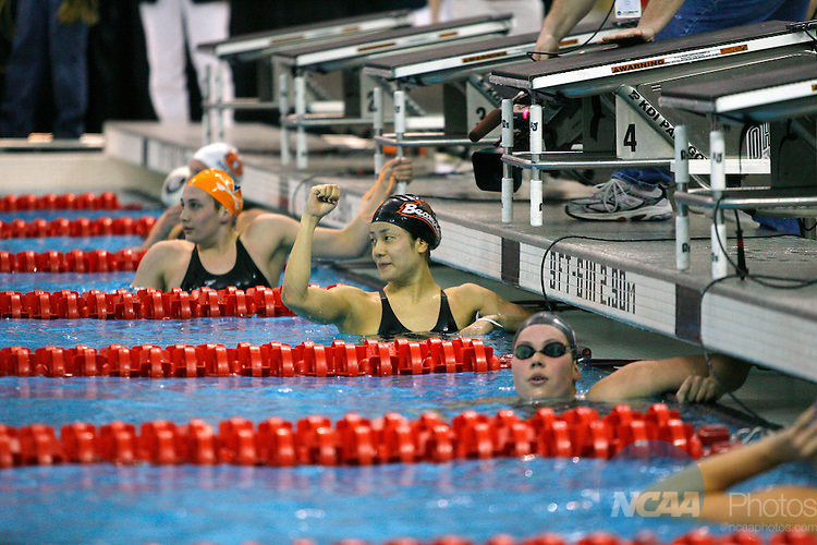 22 MAR 2008:  Saori Haruguchi of Oregon State University pumps her fist in victory after winning the 200 yard butterfly event during the Division I Women's Swimming and Diving Championship held at the McCorkle Aquatic Pavilion on the Ohio State University campus in Columbus, OH.  Matt Sullivan/NCAA Photos