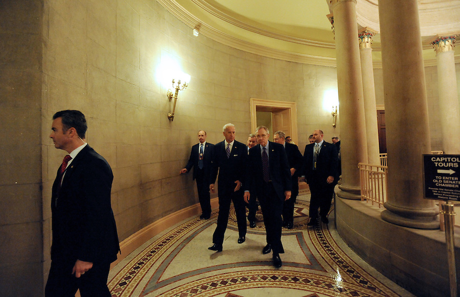 Vice President Biden and Harry Reid talk on their way to the State of the Union address on Wed. Jan. 27, 2010. (Amanda Lucidon)