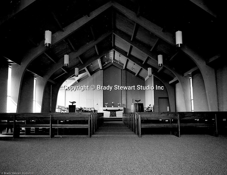 Pittsburgh PA:  View of the new North Hills Methodist Church on Thompson Run Road - 1967.  Assignment was given to Brady Stewart Studio by the church to take exterior and interior photographs of the church on Easter Sunday in order to create a brochure for the May 14th 1967 dedication.