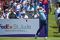 Jordan Spieth (USA) watches his tee shot on 1 during round 1 of the WGC FedEx St. Jude Invitational, TPC Southwind, Memphis, Tennessee, USA. 7/25/2019.<br /> Picture Ken Murray / Golffile.ie<br /> <br /> All photo usage must carry mandatory copyright credit (© Golffile | Ken Murray)