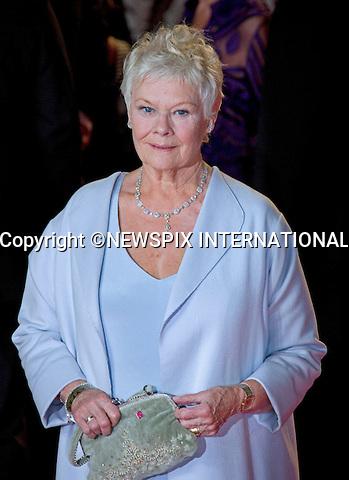 "JUDI DENCH.attends the World Premiere of the twenty-third 007 adventure, ""Skyfall"", Royal Albert Hall, London_23/10/2012.Mandatory Credit Photo: ©Butler/NEWSPIX INTERNATIONAL..**ALL FEES PAYABLE TO: ""NEWSPIX INTERNATIONAL""**..IMMEDIATE CONFIRMATION OF USAGE REQUIRED:.Newspix International, 31 Chinnery Hill, Bishop's Stortford, ENGLAND CM23 3PS.Tel:+441279 324672  ; Fax: +441279656877.Mobile:  07775681153.e-mail: info@newspixinternational.co.uk"