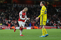 Jack Wilshere of Arsenal (left) celebrates after he scores his team's third goal of the game to make the score 3-0 during the UEFA Europa League match between Arsenal and FC BATE Borisov  at the Emirates Stadium, London, England on 7 December 2017. Photo by David Horn.