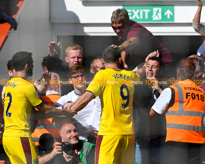 Sam Vokes of Burnley celebrates with the away fans after scoring against his old club during AFC Bournemouth vs Burnley, Premier League Football at the Vitality Stadium on 13th May 2017