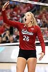 KANSAS CITY, MO - DECEMBER 16: Lauren Stivrins (26) of the University of Nebraska reacts after an officials decision during the Division I Women's Volleyball Championship held at Sprint Center on December 16, 2017 in Kansas City, Missouri. (Photo by Jamie Schwaberow/NCAA Photos via Getty Images)