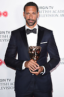 Rio Ferdinand in the winners room for the BAFTA TV Awards 2018 at the Royal Festival Hall, London, UK. <br /> 13 May  2018<br /> Picture: Steve Vas/Featureflash/SilverHub 0208 004 5359 sales@silverhubmedia.com