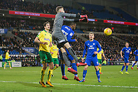 Angus Gunn of Norwich City punches under pressure from Junior Hoilett of Cardiff City during the Sky Bet Championship match between Cardiff City and Norwich City at the Cardiff City Stadium, Cardiff, Wales on 1 December 2017. Photo by Mark  Hawkins / PRiME Media Images.