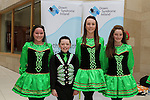 Ciara Kelly, Cillian Tracey, Aideen Dunne and Emily Doyle as dancers from McCarthy School of Irish Dance perform a dance display in aid of Down Syndrome Ireland in the Laurence Centre...(Photo credit should read Jenny Matthews/NEWSFILE)...