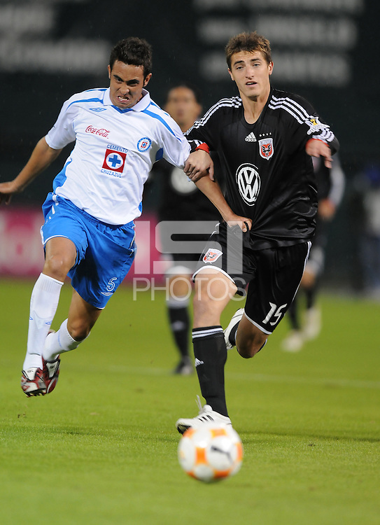 CD. Cruz Azul midfielder Gavino Velasco (5) figths for possession of the ball against DC United midfielder Rod Dyachenko (15). CD Cruz Azul defeated DC United 1-0 ,  in the first leg of the group A of the Concacaf Champions League, Wednesday October 1st, 2008 at RFK Stadium.