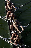 REDWOOD SHORES, CA - MARCH 31:  The Stanford Cardinal novice 8 team during Stanford's regatta against the Santa Clara Broncos on March 31, 2001 in Redwood Shores, California.