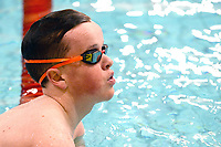 Picture by Richard Blaxall/SWpix.com - 15/04/2018 - Swimming - EFDS National Junior Para Swimming Champs - The Quays, Southampton, England - Asa Bebbington of Manchester looks on after the Men's MC 100m Backstroke