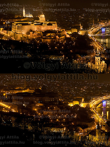"The combination photo taken on March 26, 2011 shows the Castle of Buda before (Top) and during the ""Earth Hour"" in Budapest, Hungary. The ""Earth Hour"", initiated by the World Wild Fund for Nature (WWF) in 2007, calls on families and buildings to turn off the lights for one hour on the last Saturday night of March. ATTILA VOLGYI"