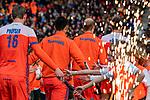 ROTTERDAM -  Opkomst van Oranje , met oa Glenn Schuurman (NED)   voor  de Pro League hockeywedstrijd heren, Nederland-Spanje (4-0) . COPYRIGHT KOEN SUYK