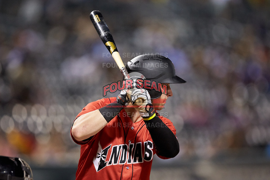 Wyatt Mathisen (19) of the Indianapolis Indians at bat against the Charlotte Knights at BB&T BallPark on May 26, 2018 in Charlotte, North Carolina. The Indians defeated the Knights 6-2.  (Brian Westerholt/Four Seam Images)