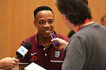 Nathaniel Clyne of England answers questions during a press conference - England Training & Press Conference - UEFA Euro 2016 Qualifying - St George's Park - Burton-upon-Trent - 11/11/2014 Pic Philip Oldham/Sportimage<br /> *Embargoed until Tuesday 11/11/14 10.30pm*