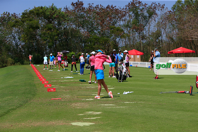 A busy driving range during the Tuesday Practice Day of the Honda LPGA at the Siam Country Club Old Course in Pattaya on Tuesday 24th February 2015.<br /> Picture:  Thos Caffrey / www.golffile.ie