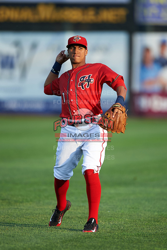 Harrisburg Senators Christopher Bostick (1) warms up before a game against the New Hampshire Fisher Cats on July 21, 2015 at Metro Bank Park in Harrisburg, Pennsylvania.  New Hampshire defeated Harrisburg 7-1.  (Mike Janes/Four Seam Images)